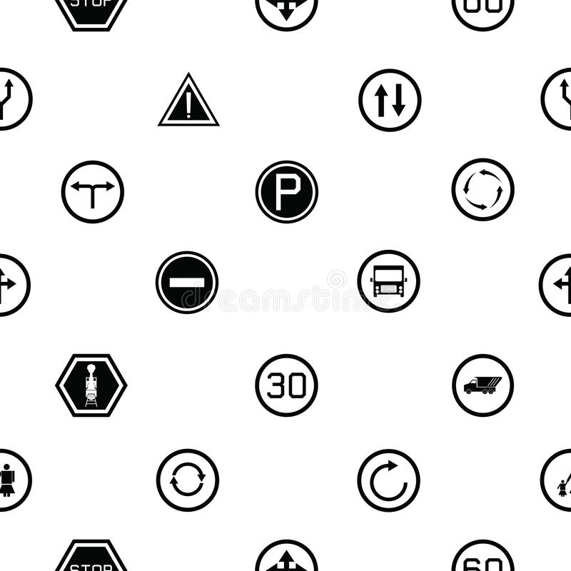 Road sign seamless pattern background icon stock illustration