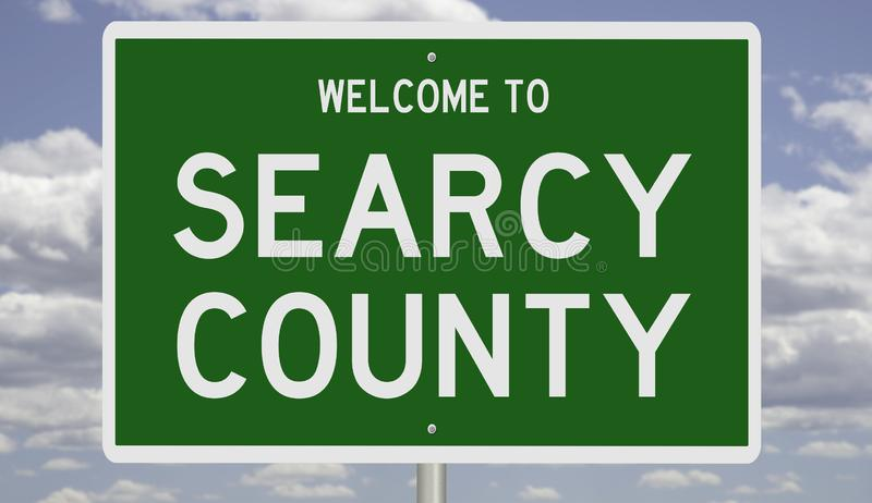 Road sign for Searcy County. Rendering of a green 3d highway sign for Searcy County royalty free stock photos