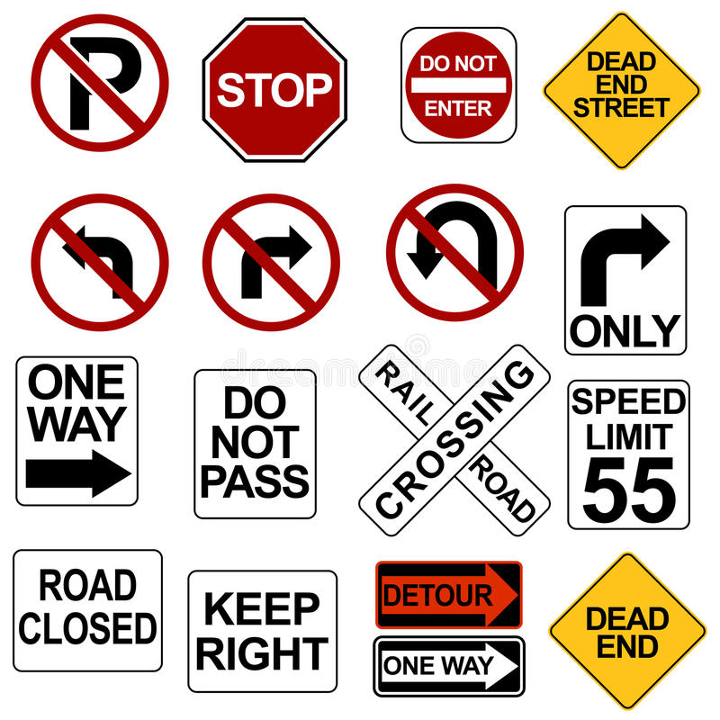 Free Road Sign Set Stock Images - 15410704