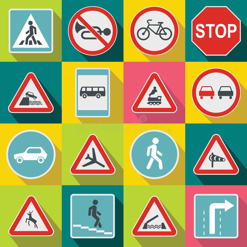 Road Sign Set icons, flat style stock illustration