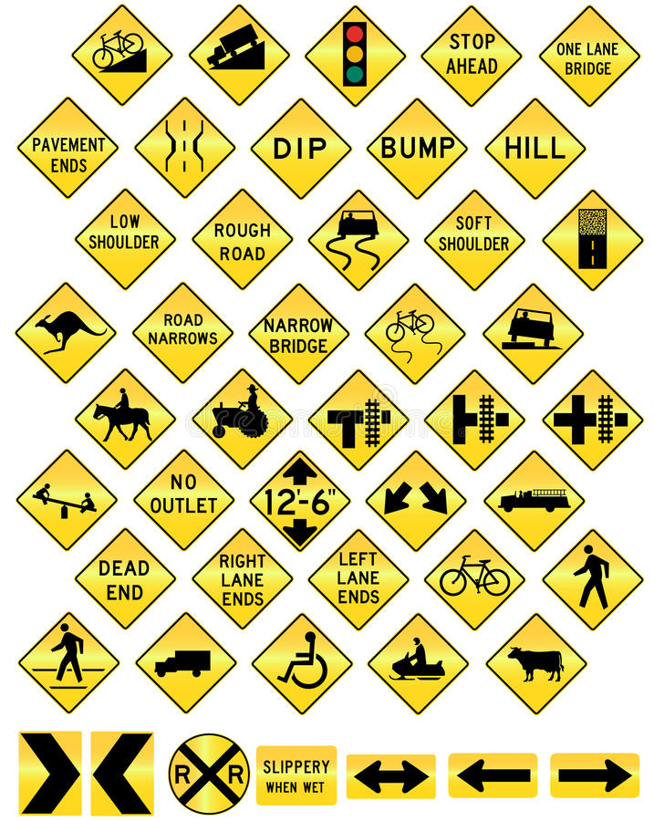 Download Road Sign Set Warning Stock Images - Image: 15373004