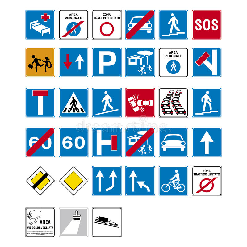 Road sign set stock illustration