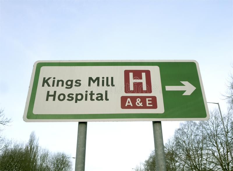 Road sign showing directions to the Kings Mill Accident and Emergency Department stock images
