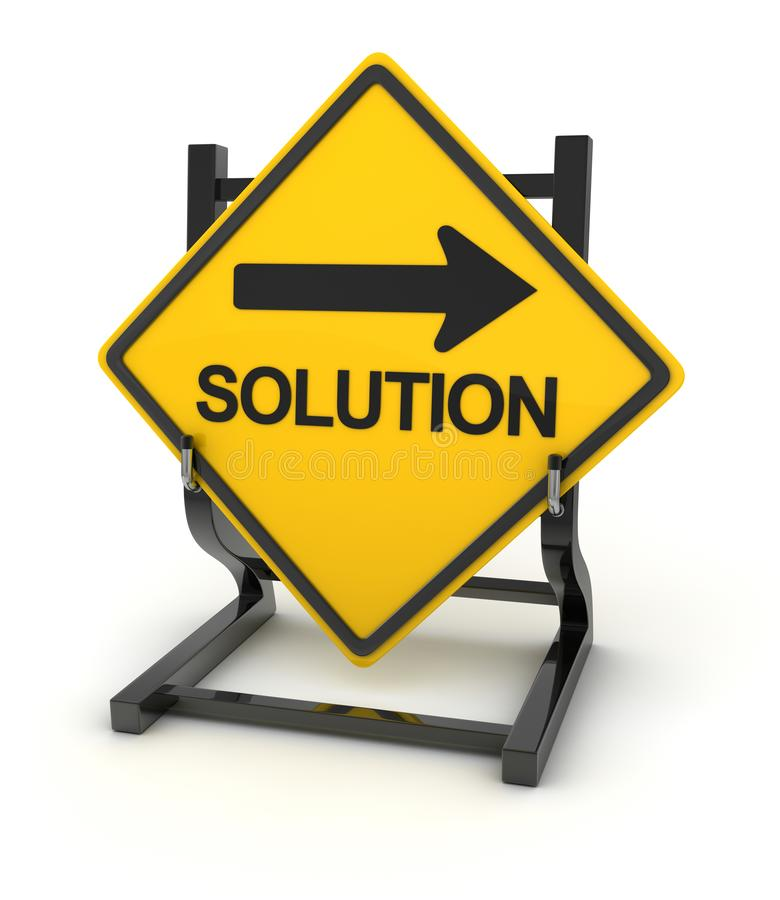 Road sign - solution. This is a computer generated and 3d rendered picture stock illustration