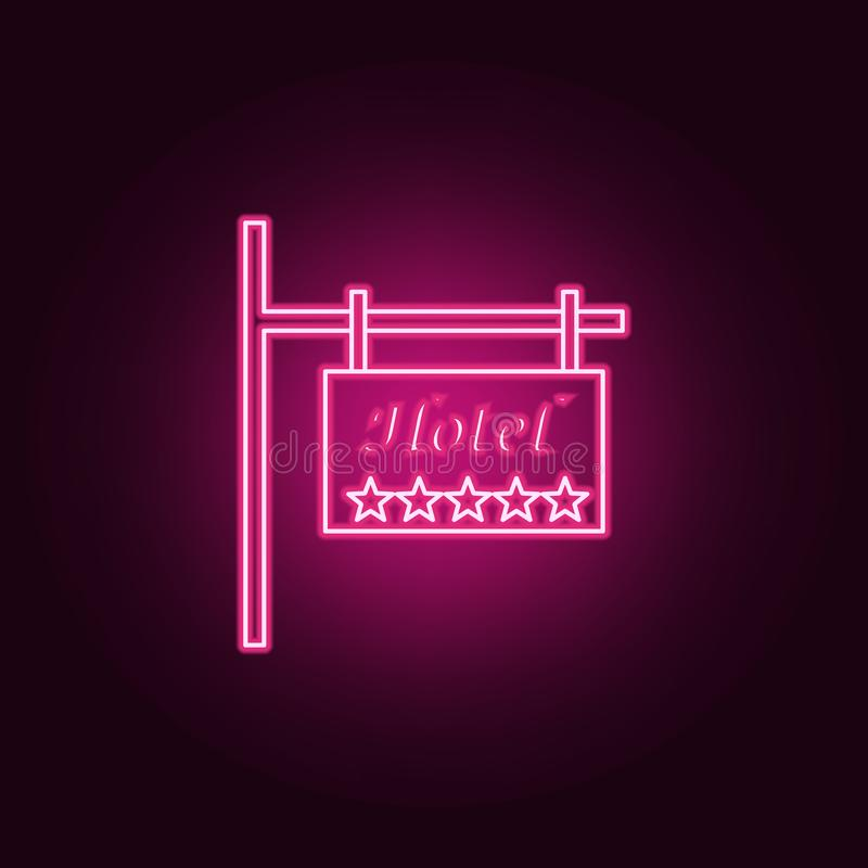 Road sign 5 star hotel icon. Elements of hotel in neon style icons. Simple icon for websites, web design, mobile app, info. Graphics  on dark gradient vector illustration