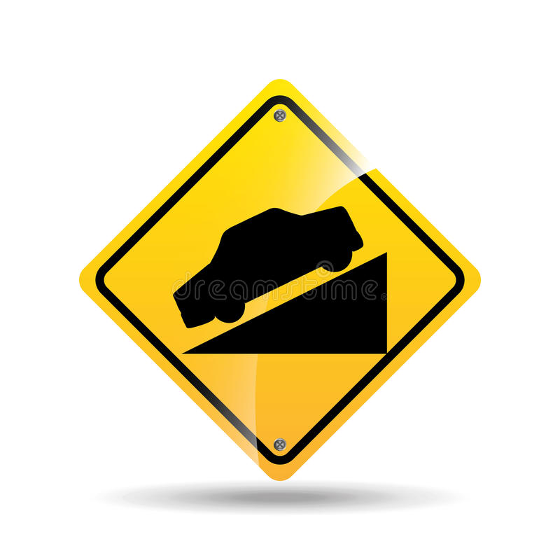 Road sign steep decline icon. Vector illustration eps 10 royalty free illustration