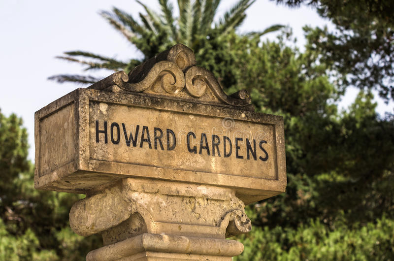 Malta, Streets of Rabat. Stone info sign in the Howard Gardens, Rabat, Malta stock photos