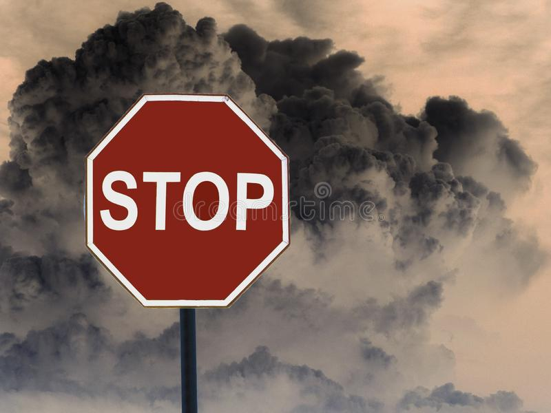 Road sign stop is prohibited on the background of explode clouds royalty free stock photography