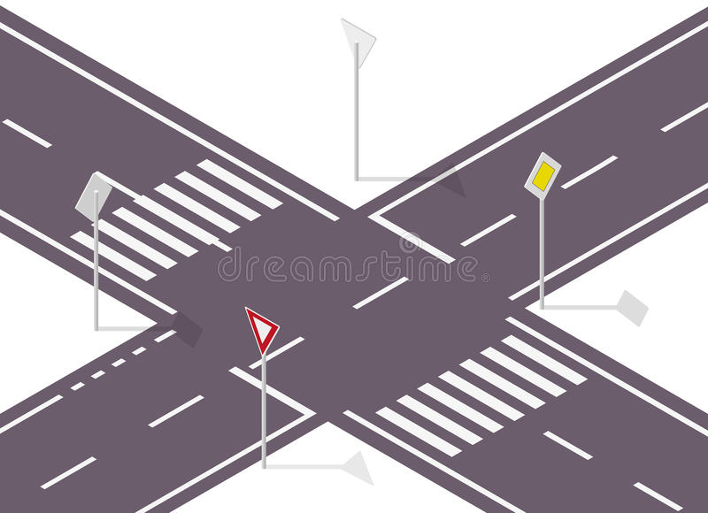 Road sign on street. Street traffic sign. Info graphic crossway. Road sign on street. Street traffic sign. Info graphic, junction crossway on white background royalty free illustration