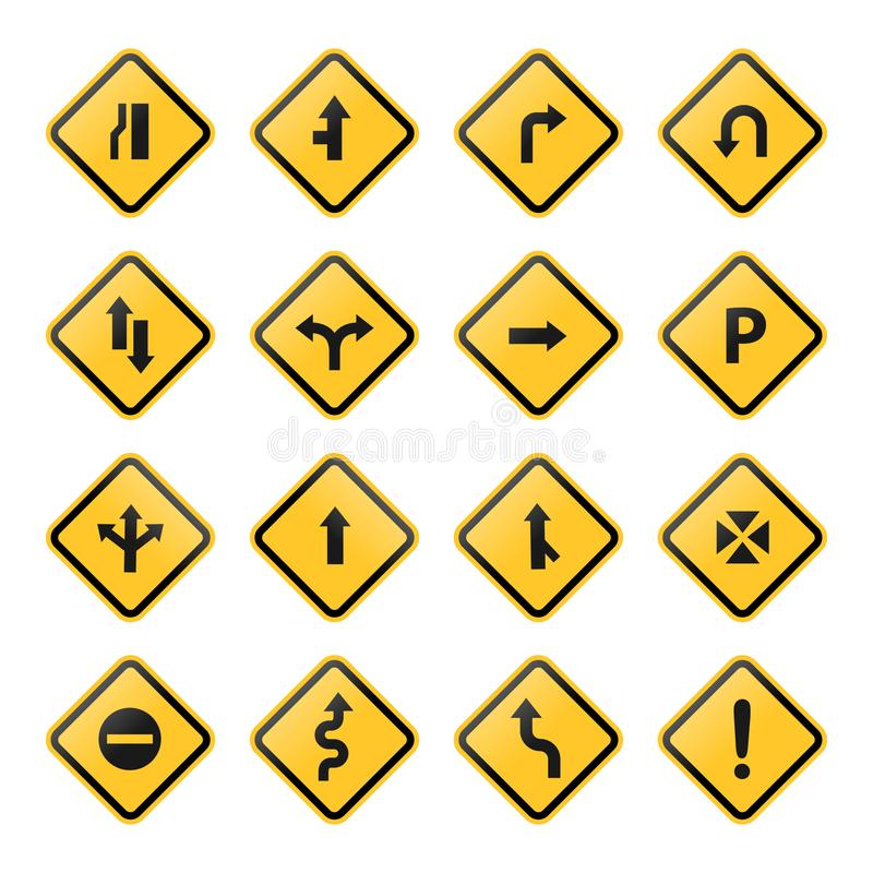 Road sign and symbols stock vector set yellow on white background vector illustration