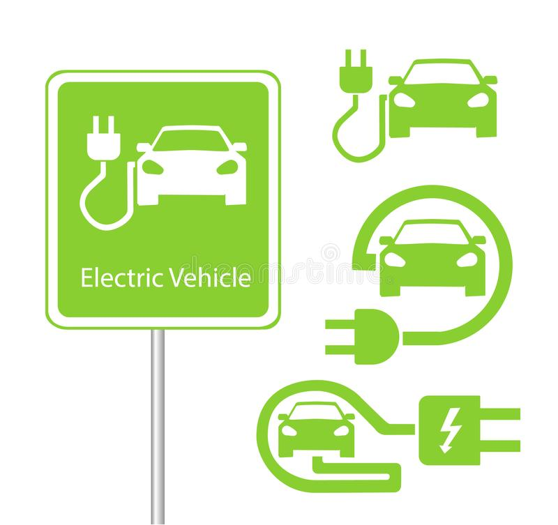 Road sign template of car charging station with a set of icons royalty free illustration