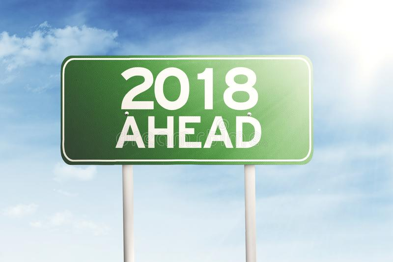 Road sign with a text of 2018 ahead stock photo