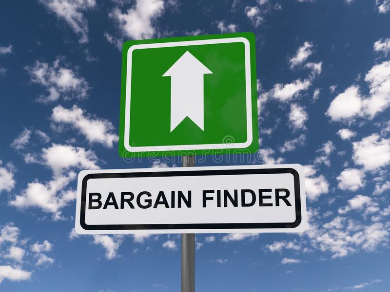 Bargain finder road sign. A road sign with the text bargain finder and the sky in the background vector illustration