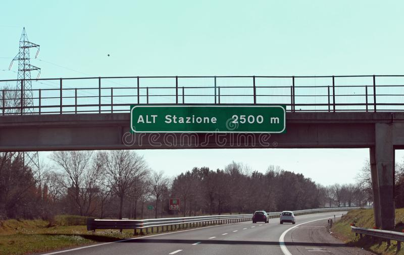 Road sign with text that means STOP pay station in the italian h. Big road sign with text that means STOP pay station at 2500 meters  in the italian highway royalty free stock photos