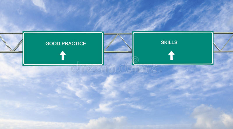 Road sign to good practice and skills stock photo