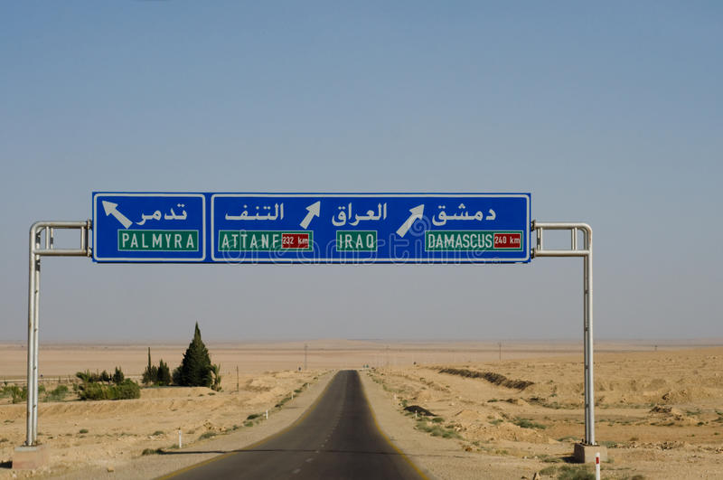 Download Road Sign to Iraq stock photo. Image of damascus, blue - 10404374