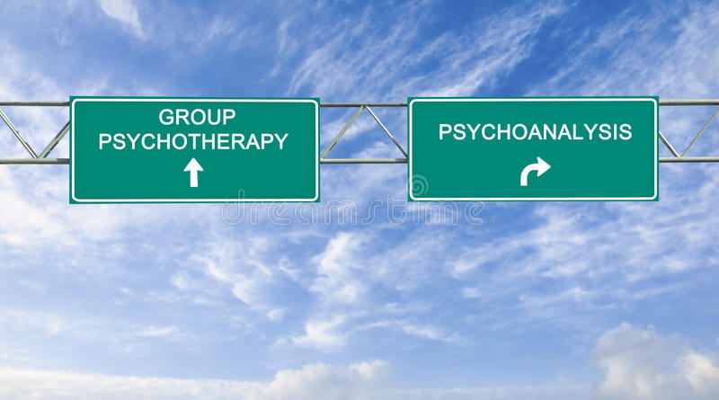 Road sign to psychotherapy stock photos