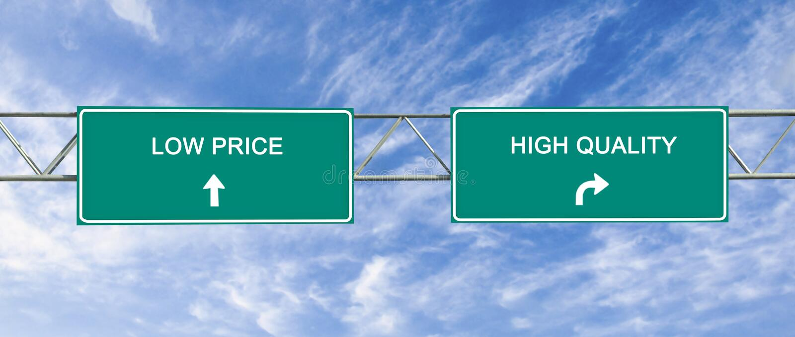 Quality and low price. Road sign to quality and low price stock images