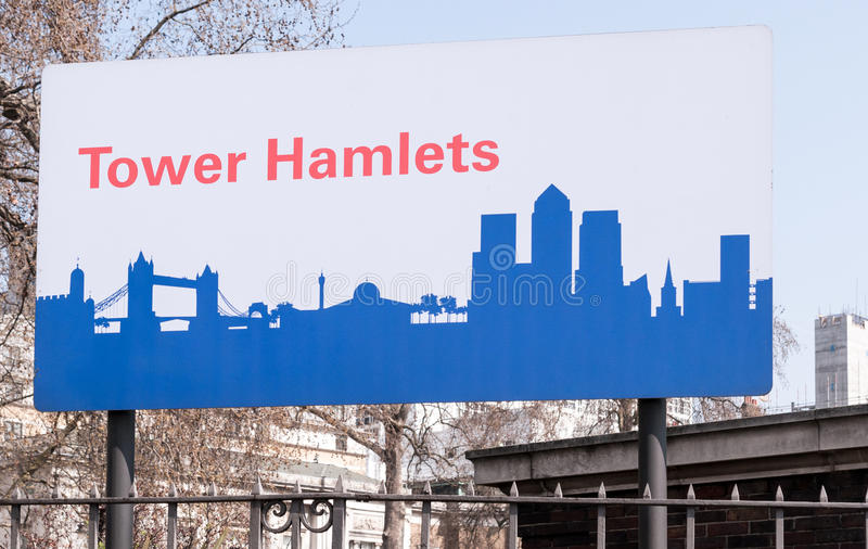 Road sign for Tower Hamlets royalty free stock images