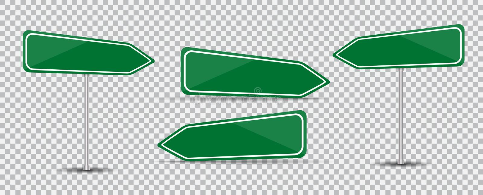 Road Sign on transparent background Blank green arrow traffic. Vector Illustration. stock illustration