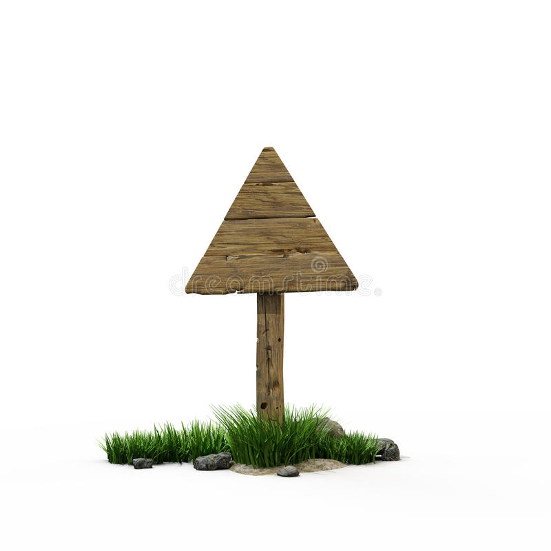 Road sign triangle. The old wooden road sign royalty free illustration