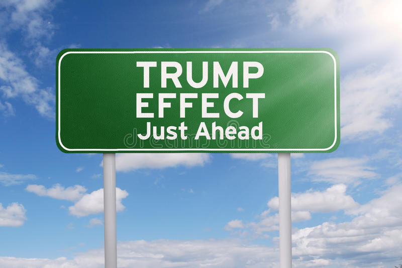 Road sign with Trump Effect word. Picture of a green road sign with text of Trump Effect just ahead. Symbolizing Trump Effect in the future vector illustration