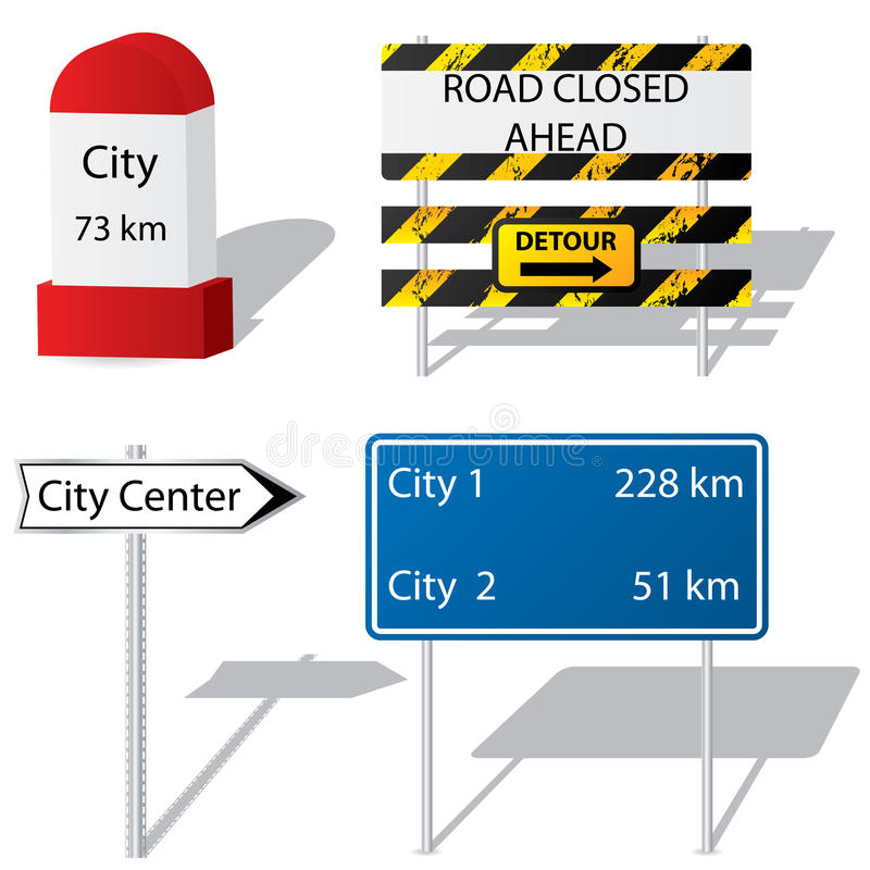 Road sign types royalty free illustration