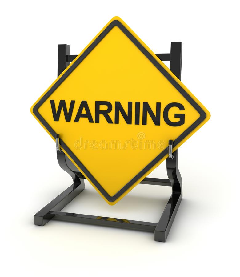 Road sign - warning. This is a computer generated and 3d rendered picture stock illustration