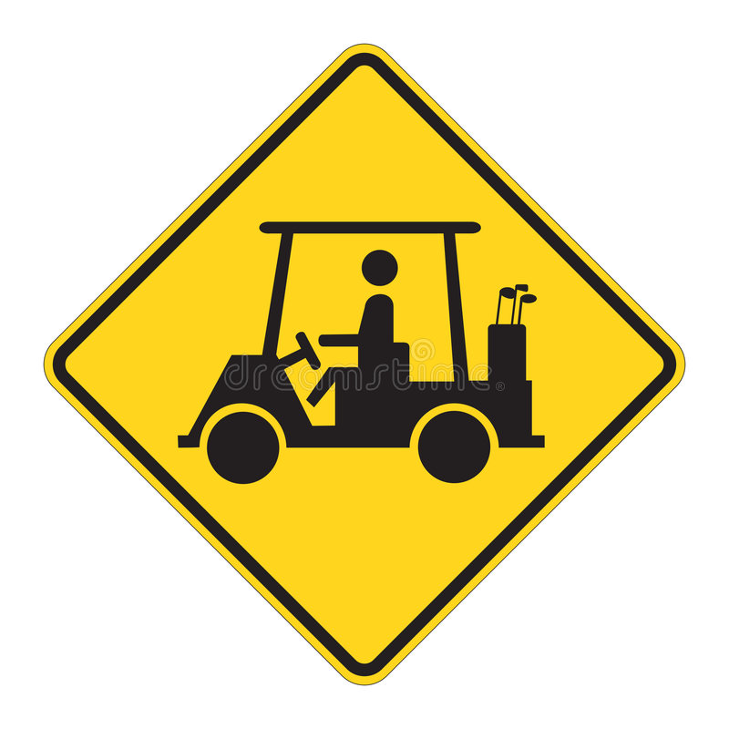 Road Sign Warning - Golf Cart. Golf Cart traffic sign warning on white. EPS file available vector illustration