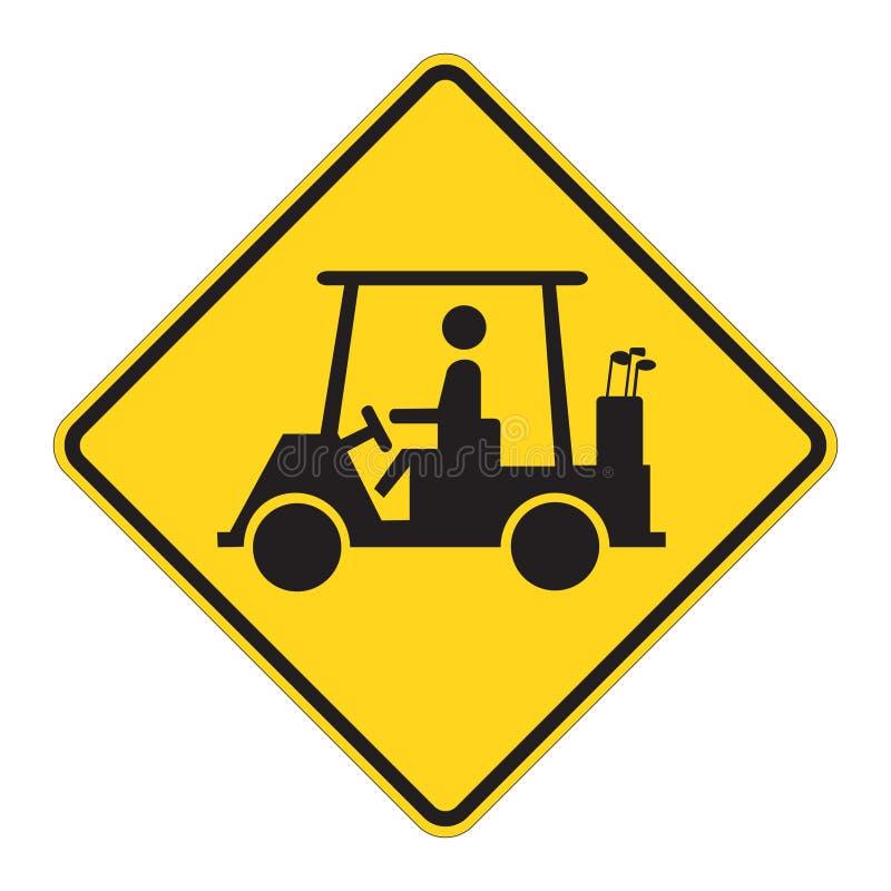 Free Road Sign Warning - Golf Cart Royalty Free Stock Image - 4973666