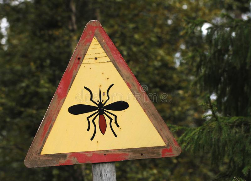 Road sign warning about mosquitos in Finnish Lapland. Road sign warning about blood sucking mosquitos in Finnish Lapland. Forest on the background royalty free stock photo