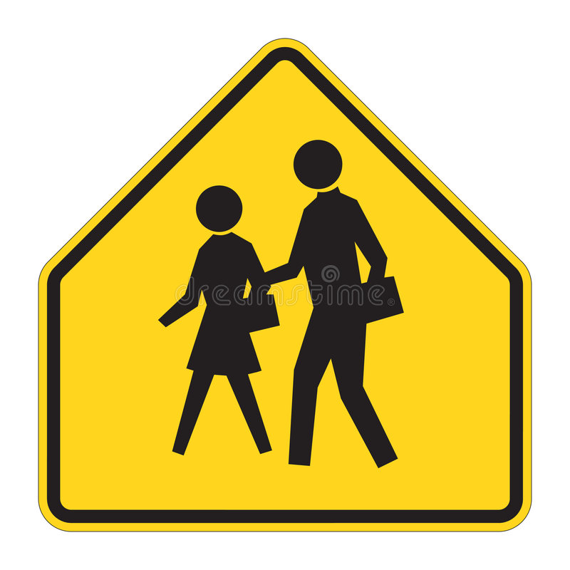 Road Sign Warning - School. School warning sign on white. EPS file available vector illustration