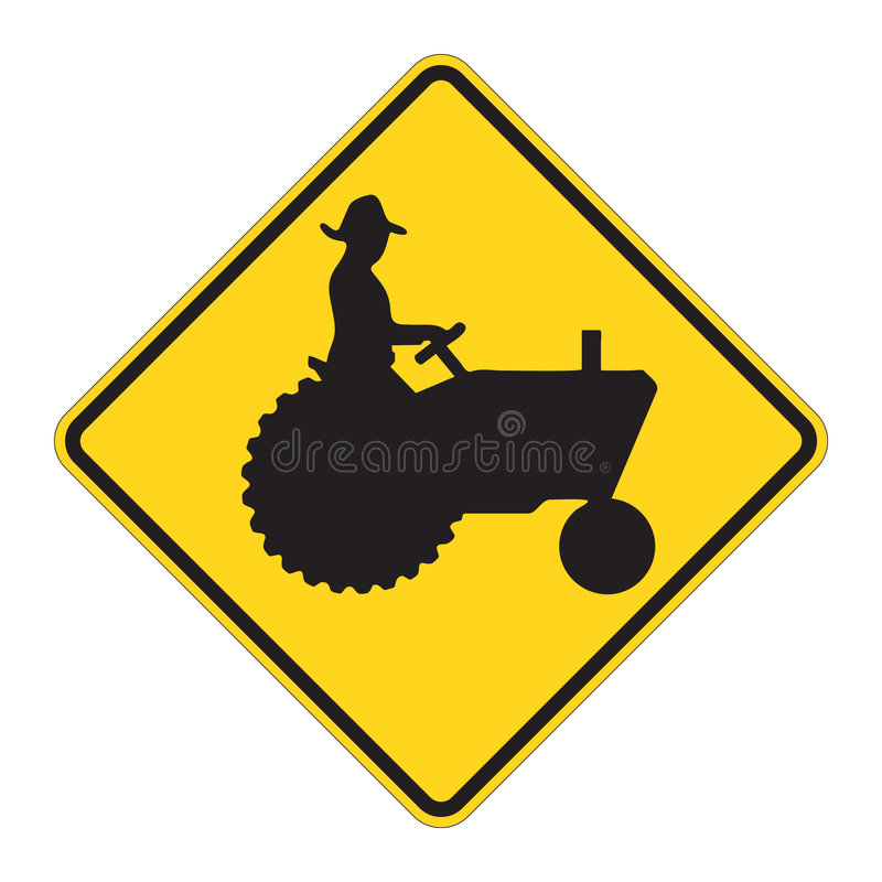 Free Road Sign Warning - Tractor Stock Photos - 4973683