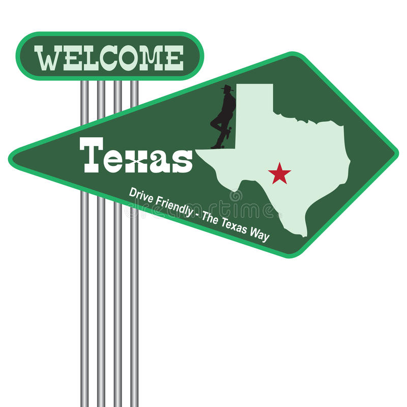 Road sign Welcome to Texas. Abstract road sign Welcome to Texas. Vector illustration stock illustration