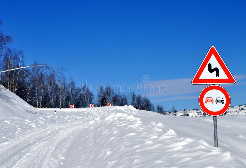 Danger curve and snow royalty free stock image