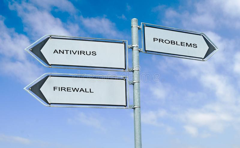 Road sign with words antivirus, firewall, and problem royalty free stock photography