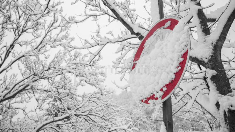 Road Signage Covered With Snow stock image