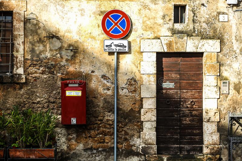Road Signage Near to Door royalty free stock photo