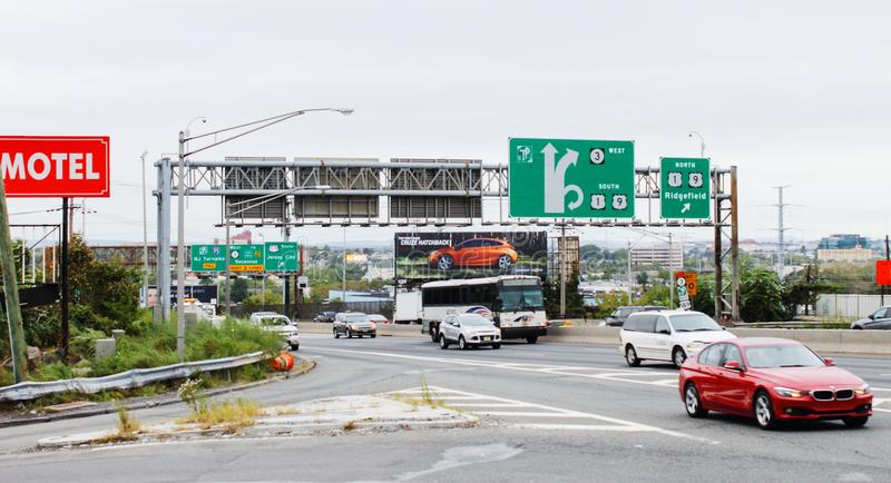 Road signage and traffic along Route 495 and 30th Street in North Bergen. royalty free stock image