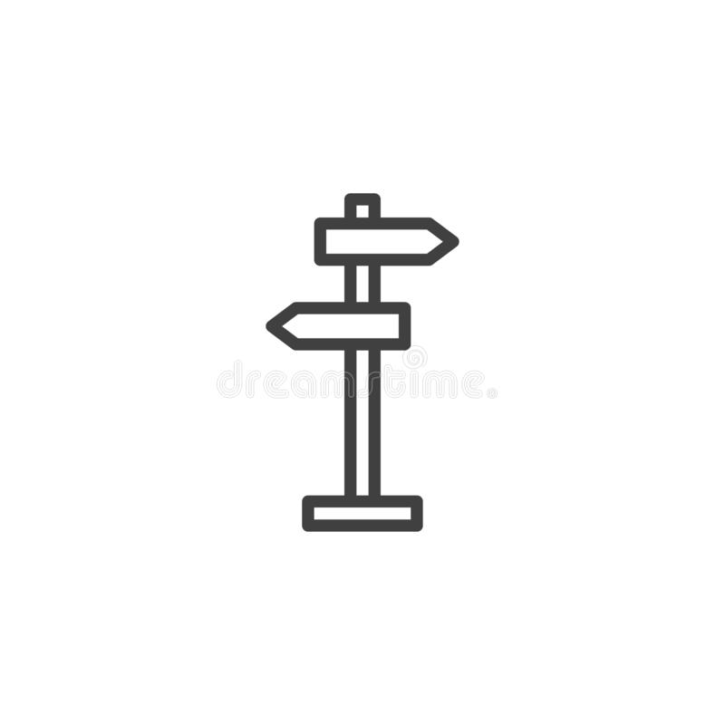 Road Signpost line icon. Guidepost linear style sign for mobile concept and web design. Street signpost outline vector icon. Symbol, logo illustration. Vector royalty free illustration