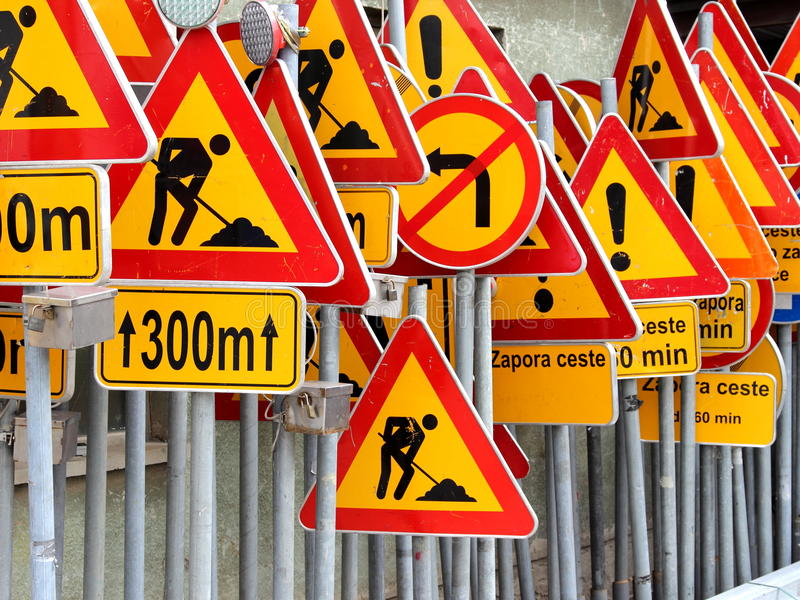 Road signs. Settled in store stock photos