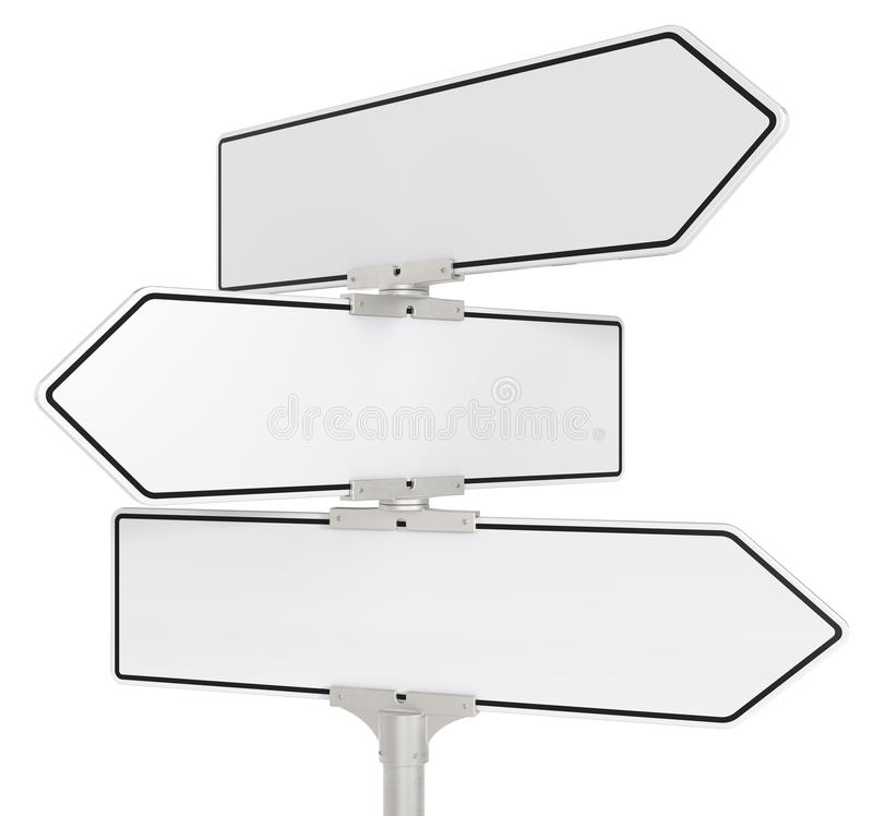 Road signs X 3. Blank directional road signs X 3. White for Copy Space. Isolated stock illustration
