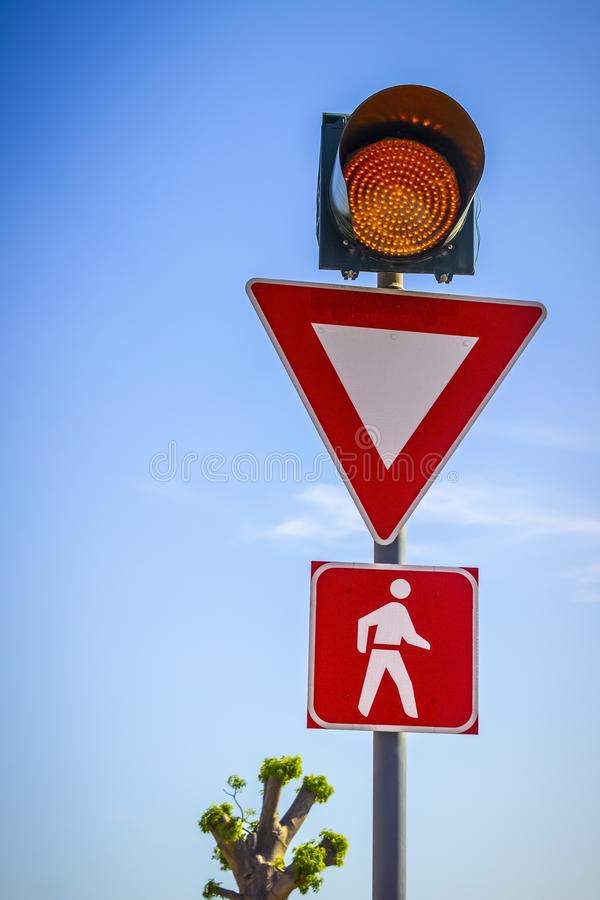 Road signs of attention royalty free stock image