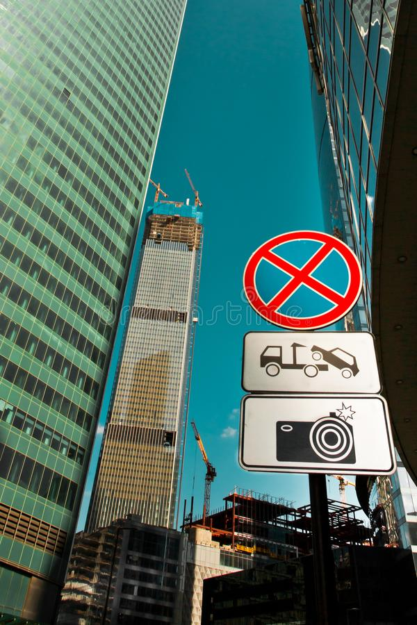 Road signs in the business center. Skyscrapers and construction. Moscow / Russia-2018, August, 8: Road signs in the business center. Skyscrapers and stock images
