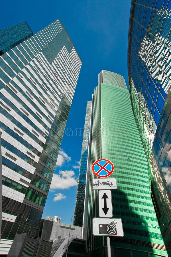 Road signs in the business center- Stop sign is prohibited, video surveillance, traffic, tow truck. Moscow / Russia-2018, August, 8: Road signs in the business royalty free stock photos