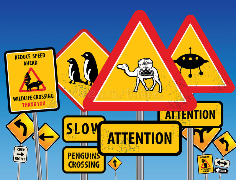 Road signs chaos royalty free illustration