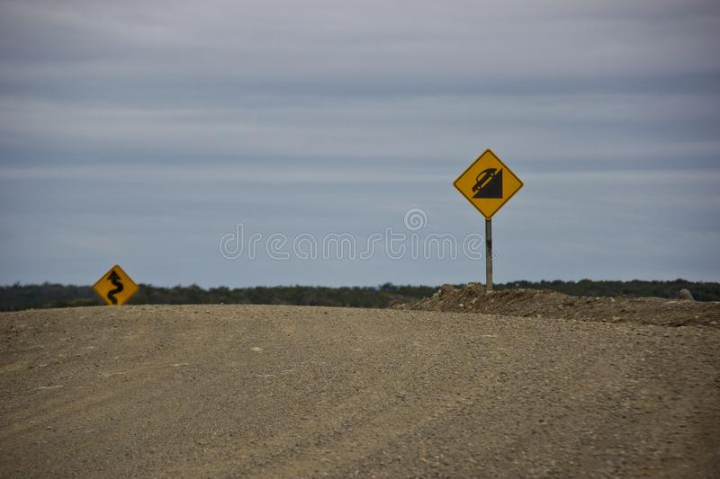Road signs for dangerous roads in Argentina royalty free stock images