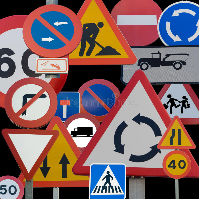Road Signs. Different European Road Signs grouped together royalty free stock image