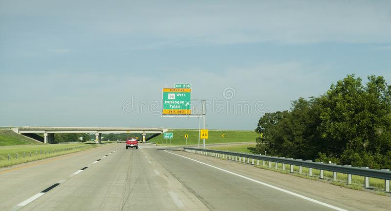 Muskogee Turnpike exit from I-40 in eastern Oklahoma royalty free stock photo