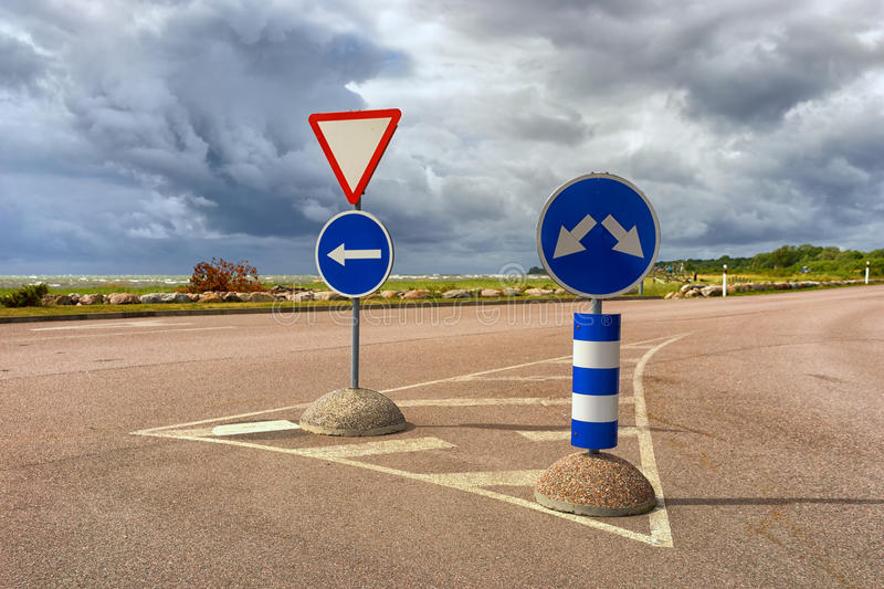 Road signs on the highway in a storm royalty free stock photography